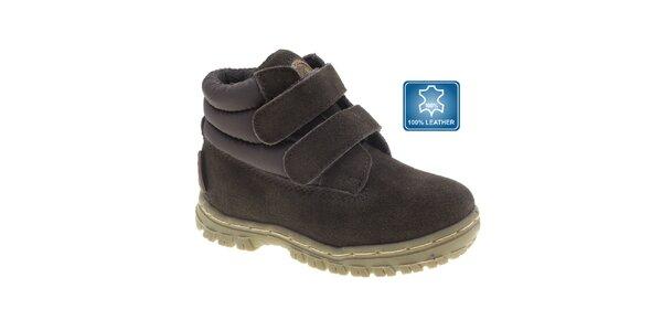 Detské tmavo hnedé členkové topánky Beppi