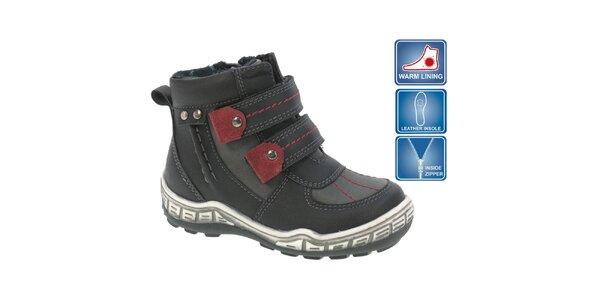 Detské čierne členkové topánky s červenými prvkami Beppi