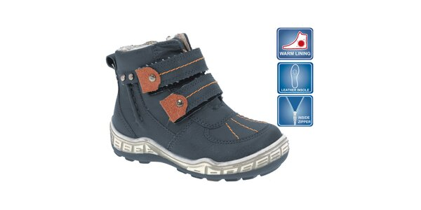 Detské modré členkové topánky s hnedými prvkami Beppi