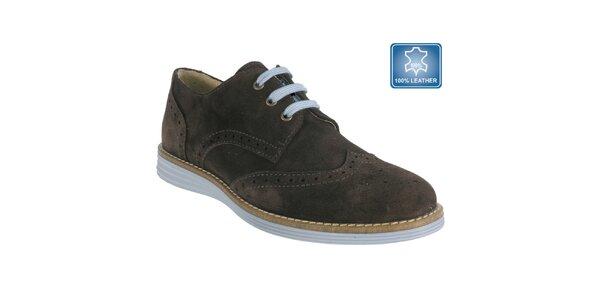 Dámske hnedé topánky s perforáciou Beppi
