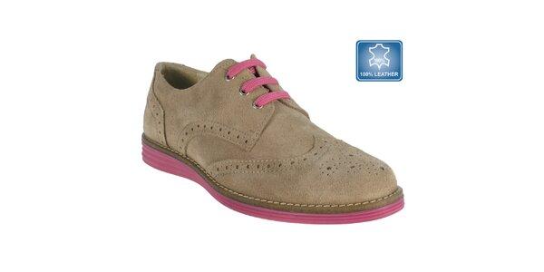 Dámske béžové topánky s perforáciou Beppi