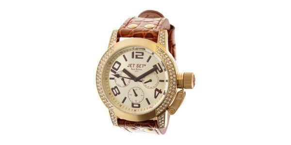 Dámske zlaté hodinky Jet Set s hnedým koženým remienkom a kamienkami