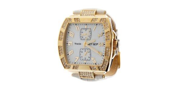 Dámske zlaté hodinky Jet Set s kamienkami a bielym koženým remienkom
