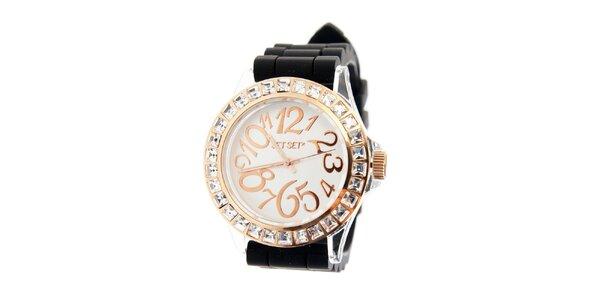 Dámske zlaté hodinky Jet Set s čiernym silikónovým pásikom a kamienkami