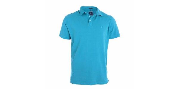 Pánske blankytno modré polo tričko s bielymi gombíkmi Pietro Filipi