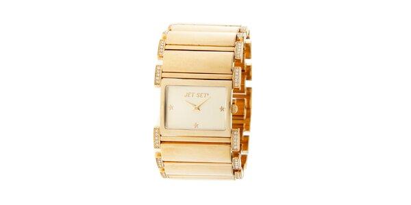 Dámske zlaté náramkové hodinky Jet Set s kamienkami