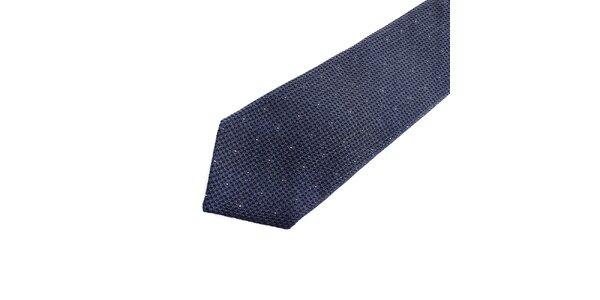 Pánska modrá hodvábna kravata s bodkou Pietro Filipi