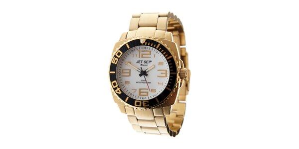 Zlaté hodinky Jet Set s bielym ciferníkom