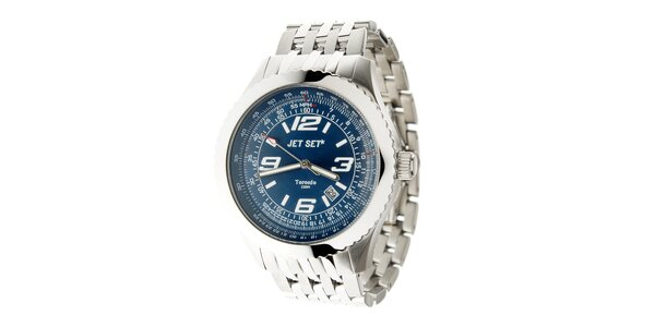 Pánske ocelové hodinky Jet Set s tmavo modrým ciferníkom