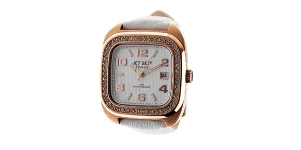 Dámske zlaté hodinky Jet Set s bielym koženým remienkom a kamienkami