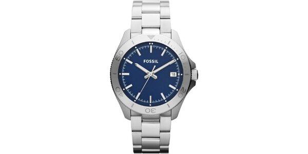 Pánske strieborné hodinky s modrým ciferníkom Fossil