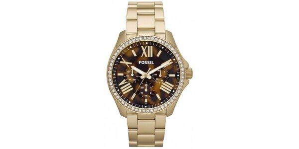 Dámske pozlátené hodinky s kamienkami Fossil