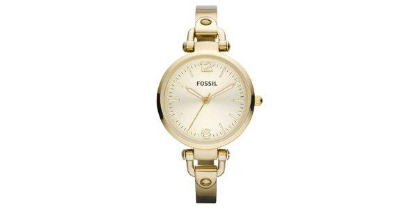 Dámske okrúhle pozlátené hodinky Fossil