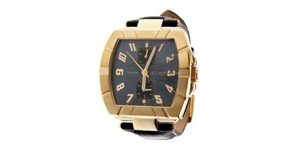 Dámske zlaté hodinky Jet Set s čiernym koženým remienkom
