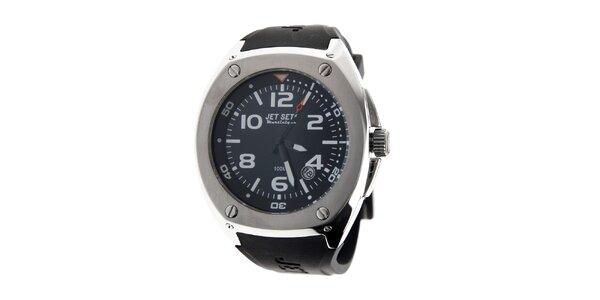Pánske ocelové hodinky Jet Set s čiernym silikónovým remienkom