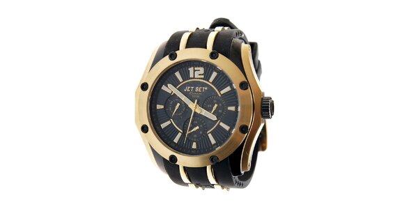 Zlaté hodinky Jet Set s čiernym silikónovým pásikom
