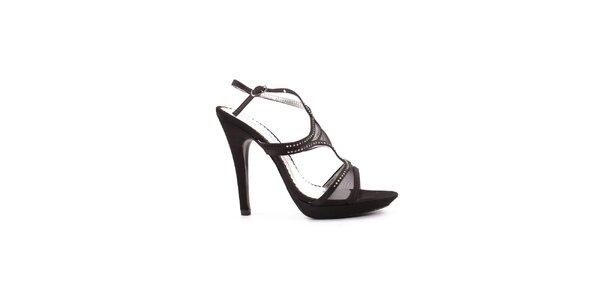 Dámske čierne sandálky so sieťovaním Spot On