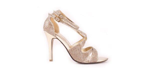 Dámske zlaté sandálky Spot On