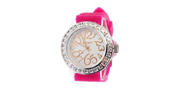 Dámske ocelové hodinky Jet Set s ružovým silikónovým pásikom