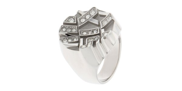 Dámsky oceľový prstienok s kamienkami Miss Sixty