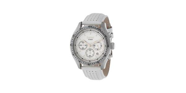 Dámske biele hodinky Esprit s koženým remienkom