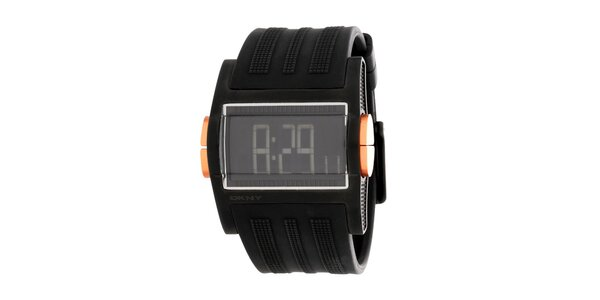 Unisexové čierne digitálne hodinky DKNY