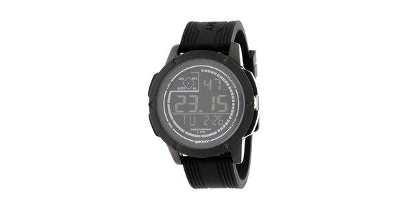 Unisexové čierne digitálne hodinky s guľatým ciferníkom DKNY