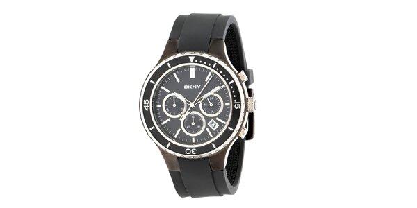 Dámske čierne analógové hodinky DKNY s oceľovým púzdrom a silikónovým remienkom