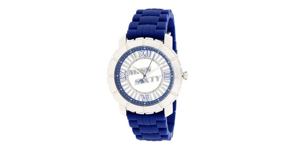 Dámske strieborné hodinky s modrým remienkom Miss Sixty
