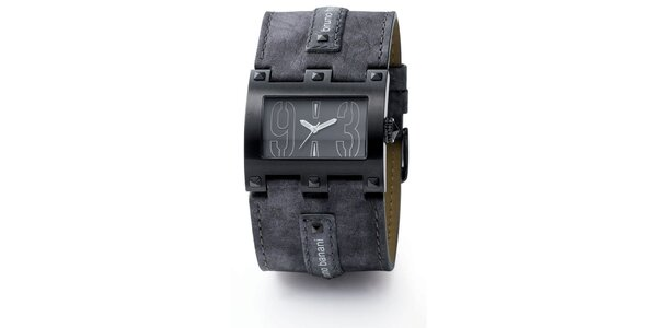 Pánske tmavo šedé hranaté hodinky Bruno Banani