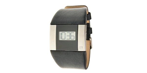 Pánske čierno-strieborné digitálne hodinky Danish Design s čiernym koženým…