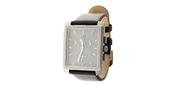 Pánske titanové hodinky Danish design s čiernym koženým remienkom