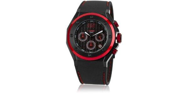 Pánske čierno-červené analogové hodinky Esprit