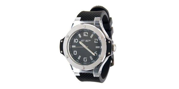 Oceľové hodinky Jet Set s čiernym silikónovým remienkom