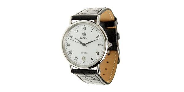 Ocelové hodinky Royal London s čiernym koženým remienkom