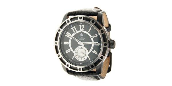 Čierno-strieborné hodinky Royal London s čiernym koženým remienkom