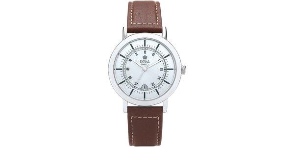 Guľaté analogové hodinky s bielym ciferníkom Royal London