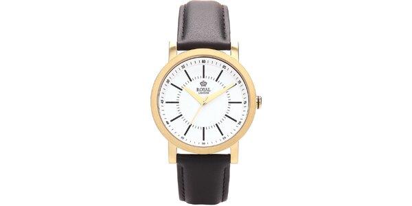 Guľaté zlaté analogové hodinky Royal London