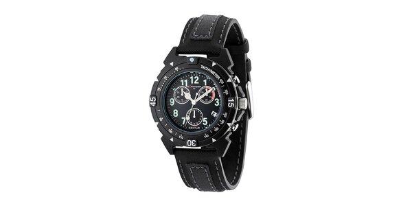 Čierne oceľové hodinky Sector s koženým remienkom