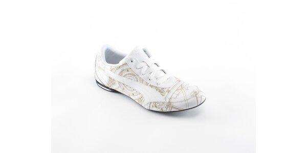 Pánske biele tenisky Puma so zaltou potlačou