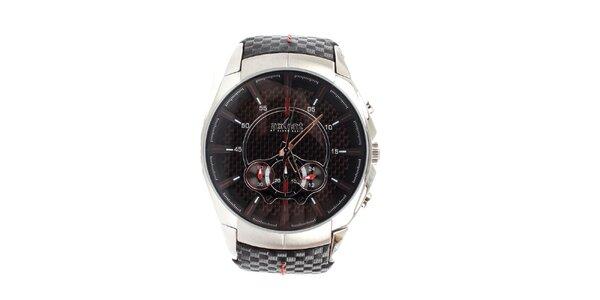 Pánske strieborné hodinky s čiernym remienkom Axcent