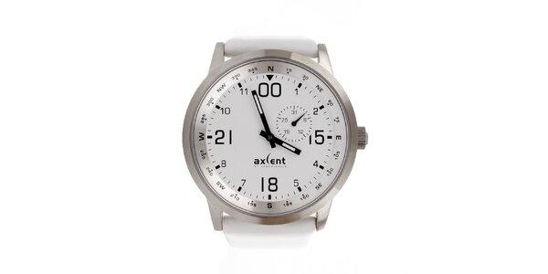 Unisexové strieborné hodinky s bielym ciferníkom a remienkom Axcent