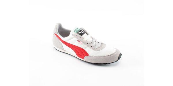 Pánske biele tenisky Puma s červenými a šedivými detailami