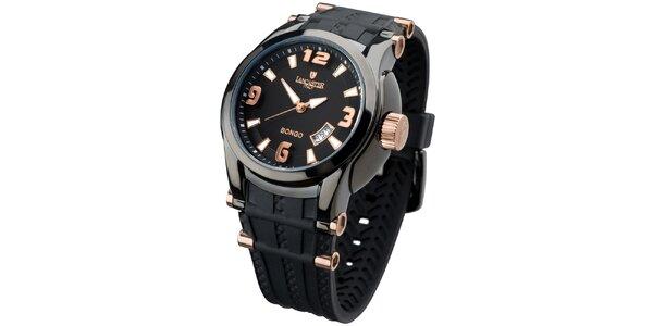 Pánske čierne analogové hodinky s ružovo-zlatými detailmi Lancaster