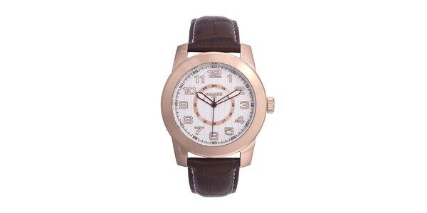 Pánske ružovo tónované pozlátené hodinky Lancaster