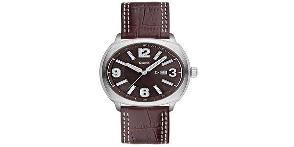 Pánske hnedé analógové hodinky s.Oliver