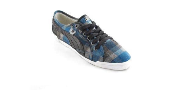 Dámske modro-šedé kockované tenisky Puma s kožúškom