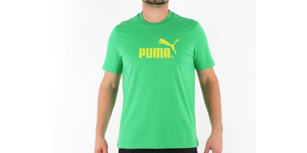 Pánske zelené tričko Puma so žltým logom