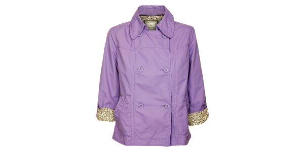 Dámsky dvojradový svetlo fialový kabátik Timeout