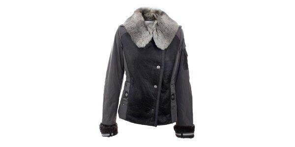 Dámska zimná šedo-čierna bunda a kožušinovým golierom Aeronautica Militare
